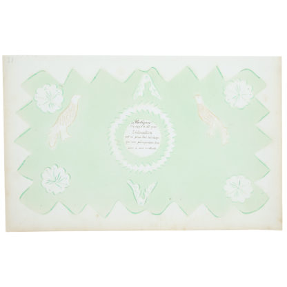 Artwork on paper with detailed calligraphy in black and floral designs on a mint green ground