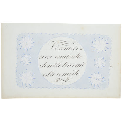 Artwork on paper with detailed calligraphy in black and sunburst designs on blue ground