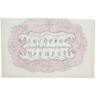 Artwork on paper with detailed calligraphy in black and abstract designs on a pink ground