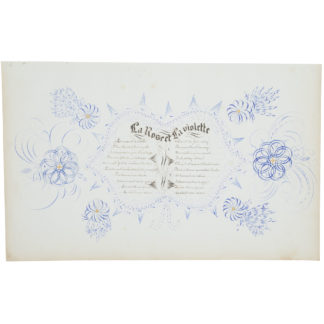 Artwork on paper with detailed calligraphy in black and floral designs in blue